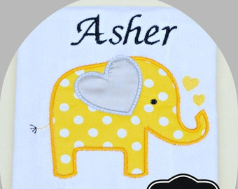 Elephant Burp Cloth, Neutral Elephant Burp Cloth, Gray Yellow Boy or Girl Burp Cloth, Unique Baby Shower Gift, Personalized Gift