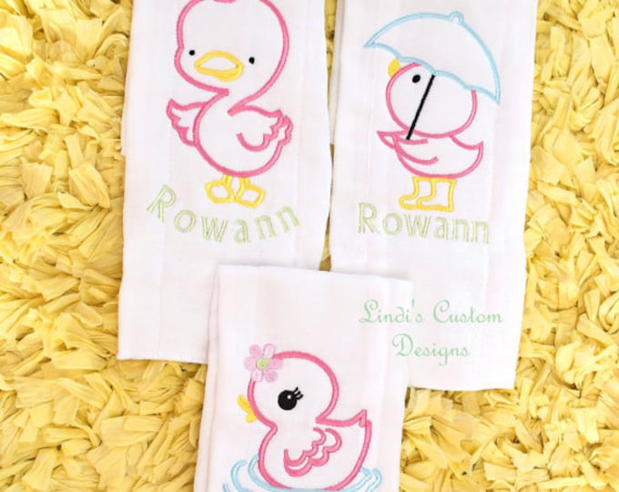 Little Rubber Duckie Embroidered Burp Cloth Gift Set, Bath Time Burp Cloth Set, Embroidered Bath Time Little Duckie Gift Set, Baby Shower