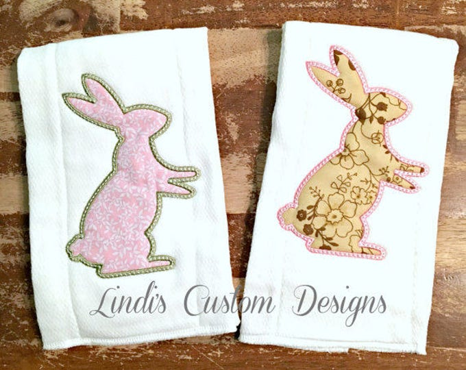 Girl Baby Gift, Bunny Rabbit Embroidered Burp Cloth Set, Easter Baby Gift, Embroidered Personalized Baby Gift