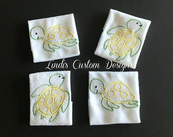 Sea Turtles Baby Gift, Sea Turtles Embroidered Baby Washcloth Set, Unique Baby Gift, Under the Sea Embroideredy Baby Gift, Baby Shower Favor