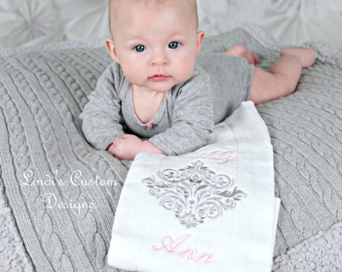 Girl Baby Gift, Damask Embroidered Girl Burp Cloth, Pink Gray Embroidered Personalized Burp Cloth, Girl Baby Shower Gift, Newborn Hospital