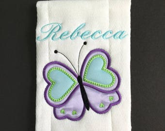 Girl Butterfly Embroidered Burp Cloth, Unique Personalized Embroidered Baby Gift Gift, Butterfly Lavender Green Blue Butterfly Baby Gift