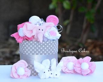 Girl Diaper Cake, Elephant Diaper Cake, Pink Gray Elephant Mini Diaper Cake, Baby Shower Table Centerpiece Topper Diaper Cake, Elephant
