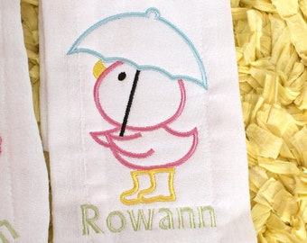 Bath Shower Time Embroidered Burp Cloth, Little Rubber Duckie Embroidered Baby Gift Burp Cloth, Baby Name Personalized Baby Gift option