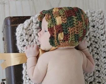 Baby Crochet Bonnet, Newborn Autumn Fall Crochet Bonnet, Newborn Photography Prop Fall, Baby Shower Gift, Neutral Baby Bonnet, Hospital Gift