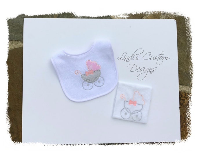 Girl Embroidered Baby Gift Set, Pink Gray Baby Carriage Embroidered Bib Washcloth Set, Unique Baby Girl Gift, Paris Theme Baby Gift, Newborn
