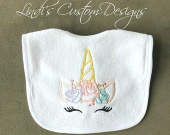 Embroidered Baby Bib, Girl Baby Gift, Unicorn Bib, Girl Unicorn Baby Gift, Unicorn Baby Shower, Unique Gift, Embroidered Unicorn Baby Bib