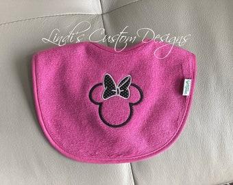Embroidered Baby Bib, Baby Girl Embroidered Bib, Minnie Mouse Baby Bib, Girl Mouse Baby Gift, Baby Shower Gift Girl, Bibs and Feeding Girl