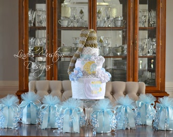 Twinkle Little Star Diaper Cake Baby Shower Decor Gift Set, Embroidered Sleepy Time Diaper Cake with 8 Mini Diaper Cake Table Centerpieces