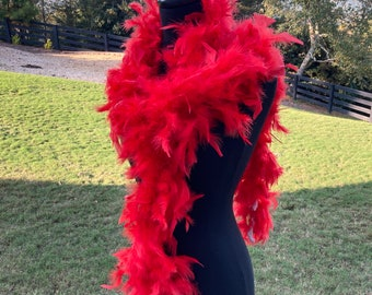Red Turkey Feather Boa 55 Gram 6 Feet, Halloween Red Feather Boa Costume Accessory