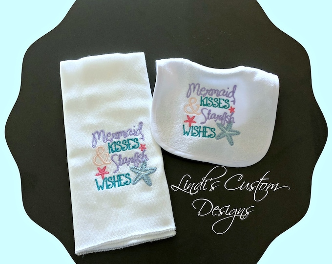 Girl Embroidered Baby Gift, Mermaid Burp Cloth and Bib Set, Unique Baby Gift, Mermaid Baby Shower, Girl Burp Bib Set, Embroidered Mermaid