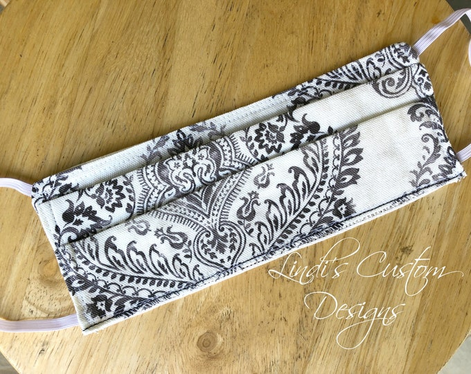Face Mask Reversible Cotton Ivory Black Damask Fabric Design, Cosmetic Face Mask, Black White Mask, Muted Damask Fabric Face Mask Classic