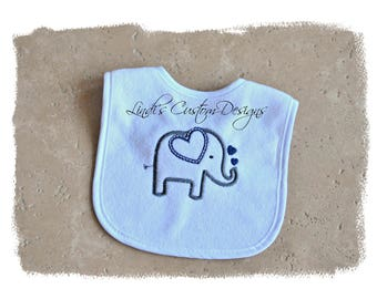 Elephant Bib Embroidered, Navy Blue Gray Embroidered Elephant Baby Bib, Baby Shower Gift, Embroidered Unique Baby Gift, Elephant Baby Bib