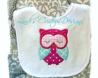 Girl Owl Bib Embroidered, Hot Pink Aqua Light Blue Embroidered Applique Bib, Baby Shower Gift, Newborn Gift, Unique Owl Baby Gift, Birthday