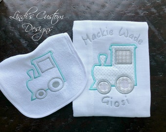 Boy Baby Gift, Embroidered Train Choo Choo Baby Gift, Train Embroidered Burp Cloth Bib Baby Gift Set, Unique Baby Gift, Boy Baby Shower
