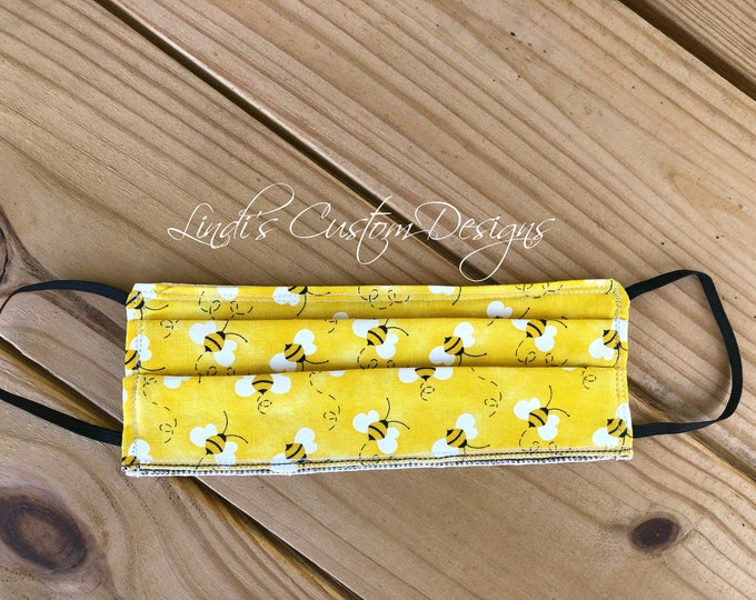 Face Mask Reversible Cotton Bee Yellow Design Cotton, What Will it Bee Baby Shower Face Mask, Mommy to Bee Fabric Face Mask, Summer Bee Mask