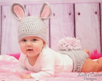 Baby Girl Bunny Hat Set, Girl Bunny Pink Gray Bunny Hat and Diaper Cover Set, Unique Baby Shower Gift, Baby Hospital Gift, 1st Costume, Girl