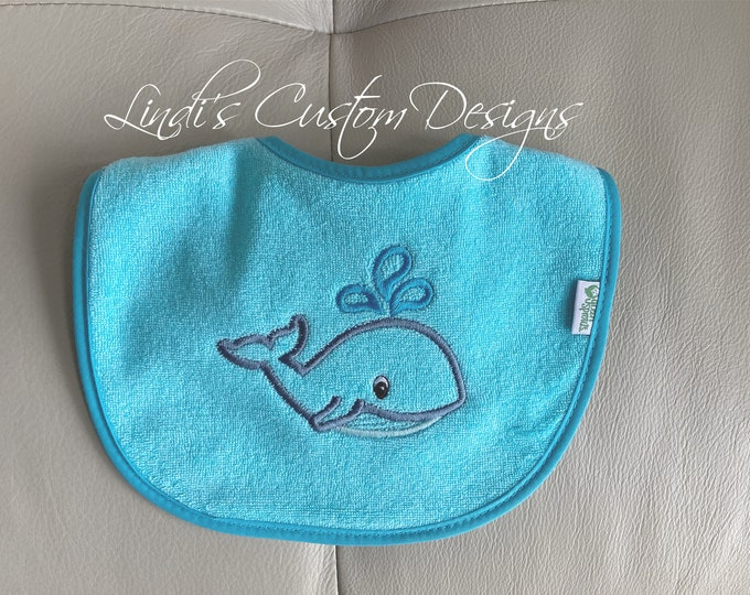 Embroidered Baby Bib, Baby Boy or Girl Embroidered Bib, Whale Baby Bib, Nautical Baby Gift, Whale Baby Gift, Gender Reveal Baby Gift, Unisex
