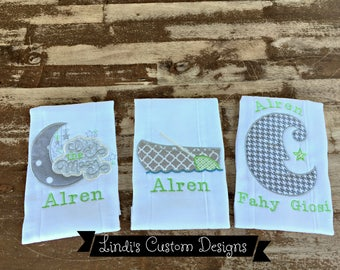 Burp Cloth Set Over the Moon, Embroidered Gender Neutral Burp Cloths Set, Unique Baby Gift, Personalized Burp Cloths, Gender Reveal Gift