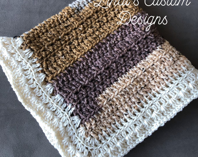 Woodland Rustic Theme Crochet Handmade Baby Nursery Home Decor Blanket