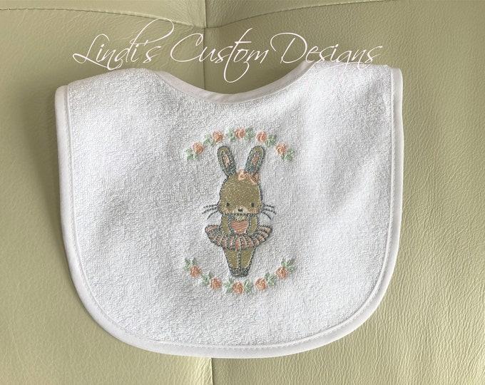 Embroidered Baby Bib, Baby Girl Embroidered Bib, Girl Bunny Tutu Bib, Baby Girl Bib, Baby Shower Gift Girl, Bunny Tutu Theme Baby Bib