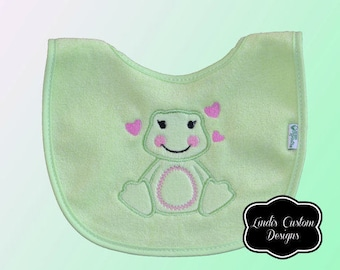 Girl Baby Gift, Lily Frog Embroidered Bib, Girl Baby Shower Embroidered Gift, Newborn Hospital Baby Gift, Pink Green Girl Bib