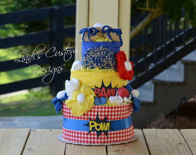 Boy Diaper Cake, Boy Superhero Diaper Cake, Red Blue Yellow Diaper Cake, Superhero Baby Shower Centerpiece, Superhero Baby Shower Decor