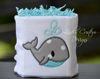 Mini Diaper Cake, Shower Table Topper Centerpiece, Whale Diaper Cake, Whale Baby Shower Table Decor, Embroidered Whale Baby Gift - Sets of 2