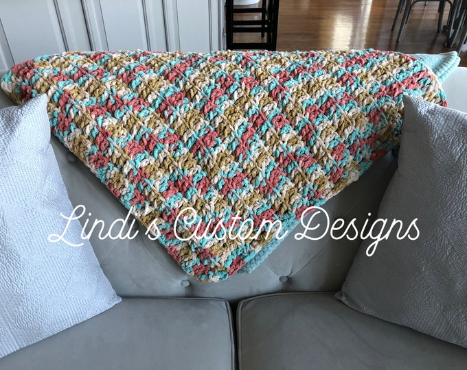Coral Teal Blend Bernat Crochet Handmade Baby Nursery Home Decor Blanket