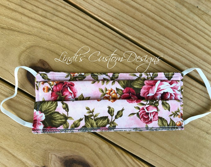 Face Mask Reversible Cotton Pink Floral Fabric Design, Cosmetic Face Mask, Elastic Face Mask, Reversible Face Mask, Floral Face Mask