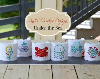 Baby Shower Table Decor Set, Under the Sea Mini Diaper Cake Gift Set, Embroidered Shower Centerpiece Gift, Under the Sea Shower Decor Set