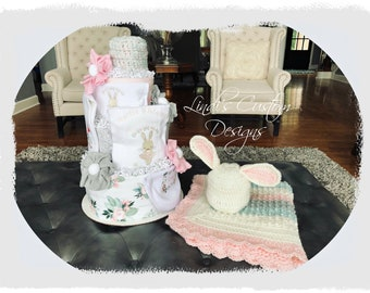 Girl Floral Bunny Diaper Cake Gift Set with Matching Crochet Baby Blanket and Bunny Hat, Girl Baby Shower Decoration Gift, Embroidered Gift