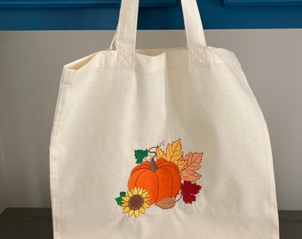 Fall Embroidered Tote Bag, Book Lovers Autumn Fall Light Weight Tote Bag, Fall Book Bag