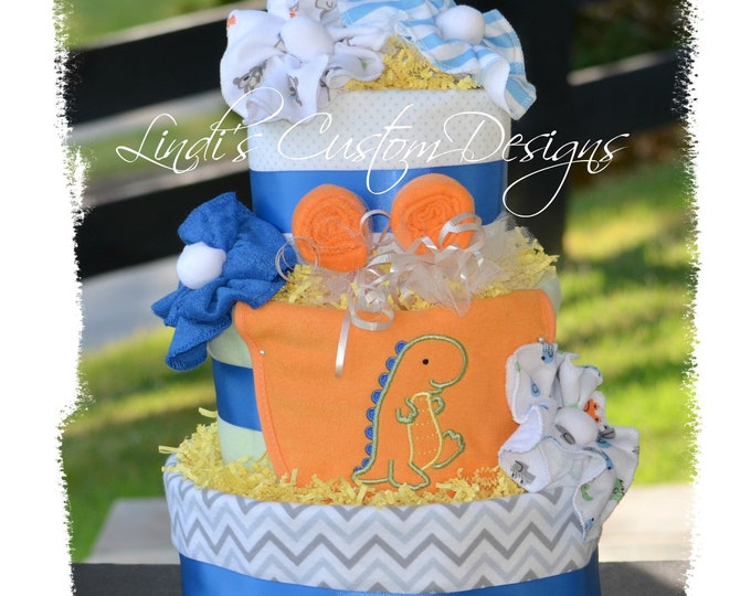 Boy Diaper Cake, Dinosaur Diaper Cake, Orange Blue Diaper Cake, Unique Baby Gift, Table Centerpiece, Dino Diaper Cake, Dino Baby Shower
