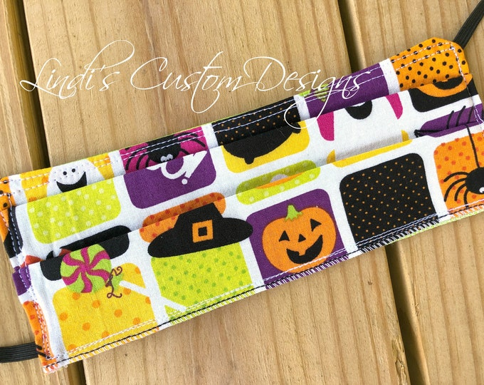 Face Mask Halloween Candy Fabric Design, Cosmetic Face Mask, Reversible Fabric Face Mask, Halloween Fabric Face Mask, Candy Theme Halloween