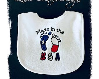 Embroidered Baby Bib, Neutral Baby Bib, Born in the USA Baby Bib, Gender Neutral Baby Gift, Red, White, Blue, Patriotic Baby Bib, Military