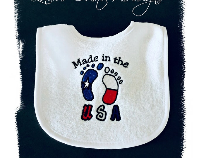 Embroidered Baby Bib, Neutral Baby Bib, Born in the USA Baby Bib, Gender Neutral Baby Gift, Red, White, Blue, Patriotic Baby Bib, Military