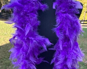 Purple Turkey Feather Boa 55 Gram 2 Yards, Halloween Purple Feather Boa Costume Accessory