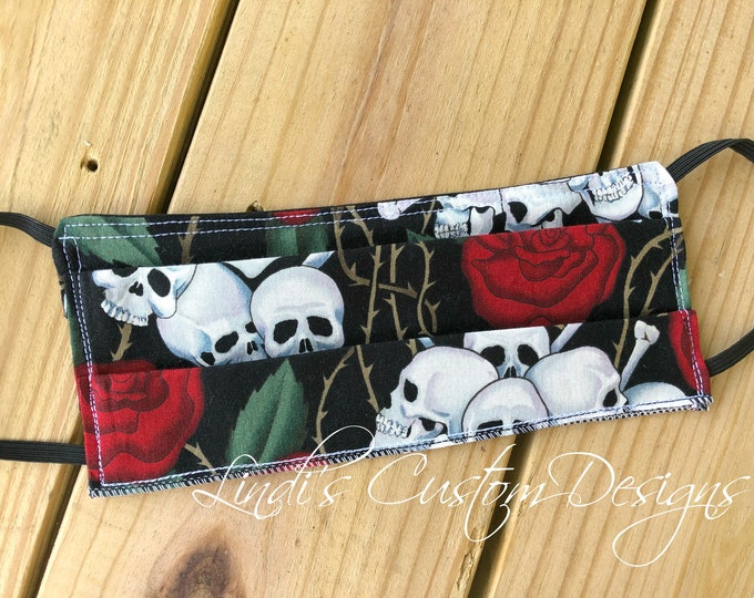 Face Mask Reversible Cotton Skull Crossbones Fabric Design, Cosmetic Face Mask, Skull Crossbones Roses, Mod Fabric Face Mask, Halloween Mask