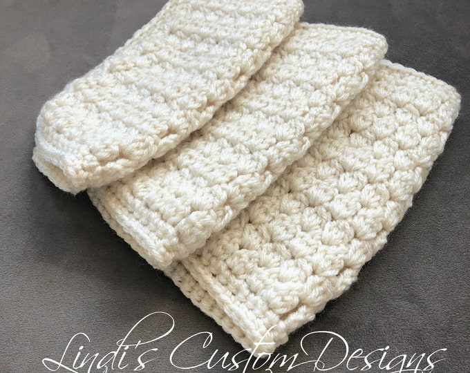 Crochet Baby Wash Cloths, Cream Ivory Neutral Baby Wash Cloth Set, Neutral Hand Crochet Spa Wash Cloths, Neutral Baby Shower Gift, Washcloth