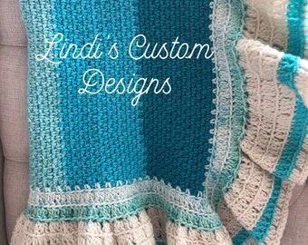 Crochet Baby Blanket, Aqua Teal Seafoam Baby Blanket, Ruffle Hand Crochet Baby Blanket