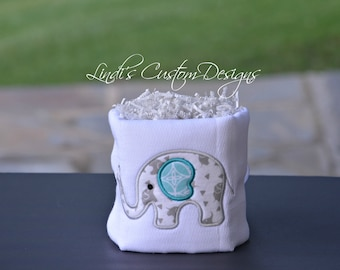 Neutral Mini Diaper Cake, Elephant Shower Table Topper Centerpiece, Elephant Diaper Cake, Elephant Baby Shower Table Decor, Embroidered Gift