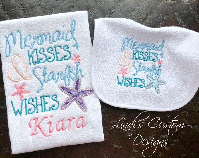 Girl Baby Shower Gift, Mermaid Baby Gift, Embroidered Mermaid Under the Sea Bib Burp Set, Mermaid Kisses Burp Cloth Bib Set, Personalized