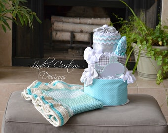 Whale Diaper Cake Baby Shower Table Centerpiece with Crochet Baby Blanket, Neutral Baby Shower Decor Set, Neutral Baby Diaper Gift Blanket