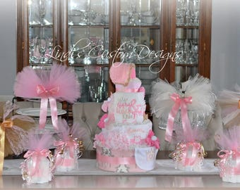 Girl Diaper Cake, Girl Baby Shower Decor Set, Tutus and Tiaras Baby Shower Diaper Cake Table Centerpiece Gift Set, Tutu Baby Shower Decor