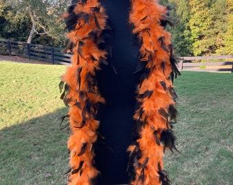 Orange Black Halloween Chandelle Turkey Feather Boa, 6 Feet, Halloween Feather Boa Costume Accessory