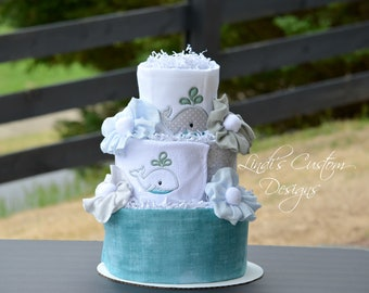 Whale Diaper Cake, Embroidered Whale Diaper Cake Baby Shower Table Centerpiece Gift, Neutral Diaper Cake, Teal Grey Baby Shower Decor Gift