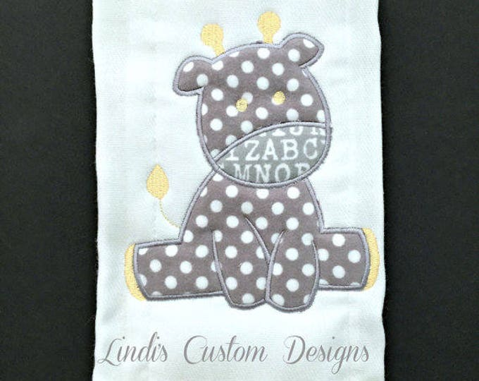 Giraffe Burp Cloth, Neutral Giraffe Burp Cloth, Gray Yellow Boy or Girl Burp Cloth, Unique Baby Shower Gift, Personalized Embroidered Gift