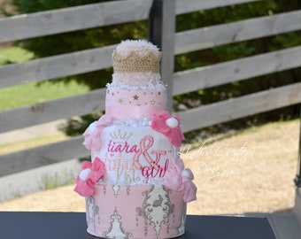 Tutu Tiara  Diaper Cake, Girl Diaper Cake, Tutu Tiara Baby Shower Gift, Girl Pink Diaper Cake, Girl Baby Shower Centerpiece, Embroidered