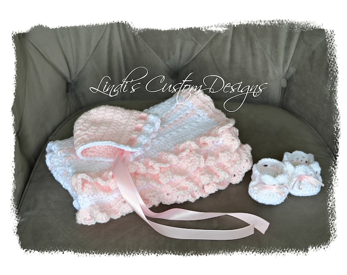 Girl Baby Blanket Gift Set, Girl Pink White Crochet Gift Set, Blanket, Hat, Baby Shoes Gift Set, Baby Shower Gift Girl, Crochet Baby Gift